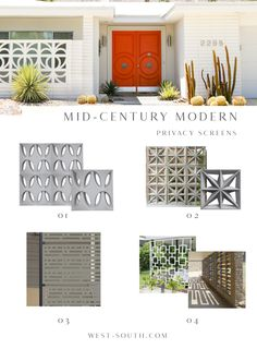 Mid-Century Modern Style Curb Appeal Ideas from West-South, Mid-Century Privacy Screen Ideas Mid Century Ranch, Mid Century House, Mid Century Style, Mid Century Design, Mid Century Modern Colors, Mid Century Decor, Mid Century Landscaping, Yard Landscaping, Landscaping Ideas