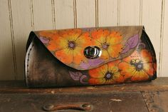 Leather Clutch PUrse - Orange, Yellow, Purple and Anitque Black - Belle pattern with flowers