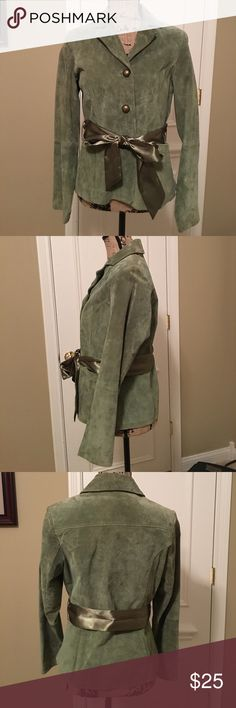 """RUFF HEWN GREEN SUEDE JACKET Ruff Hewn suede green jacket. Measures 24"""" from shoulder to hem, Shoulder to cuff is 23.5"""". Ruff Hewn Jackets & Coats"""