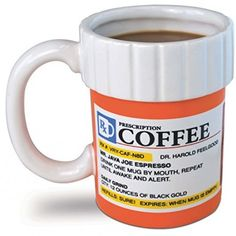 A great gift for coffee lovers, and coffee addicts - like nurses. This hilarious ceramic coffee mug looks like a perscription medicine bottle, and the label is filled with hilarious puns about coffee.
