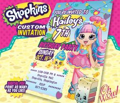 Shoppie Rainbow Kate Shopkins Theme Birthday Party Invitation by OhWowDesign on Etsy