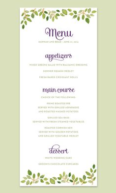 Watercolor Leaves Wedding Menu Card