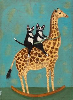 Rocking Giraffe Original Cat Folk Art Painting by KilkennycatArt: