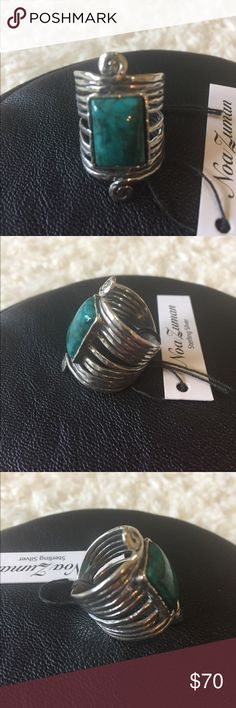 NEW! .925 STERLING SILVER & TURQUOISE RING BRAND NEW! .925 STERLING SILVER & TURQUOISE RING-MADE IN ISRAEL-SZ 7 Noa Zuman Jewelry Rings