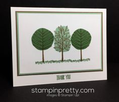 Totally Trees & All Things Thanks thank you card.  Mary Fish, Stampin' Up! Demonstrator.  1000+ StampinUp & SUO card ideas.  Read more http://stampinpretty.com/2016/12/stampin-up-totally-trees-thank-you-card.html