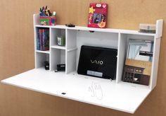 escritorio flotante, secreto, practico muy funcional - Kattia - in 2020 Small Home Offices, Desks For Small Spaces, Space Saving Desk, Space Saving Furniture, Desk Space, Floating Desk, Wall Desk, Smart Furniture, Home Organization