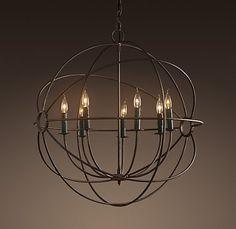 Dining room lighting. Foucault's iron orb chandelier by Restoration Hardware.