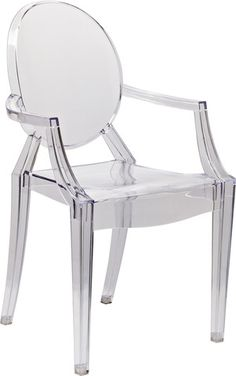Louis Ghost Chair with Arms in Transparent Crystal