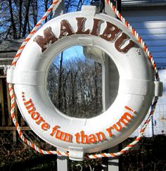 Malibu Rum Life Preserver Mirror Mancave Bar Sign Boat Pool