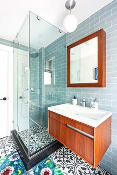 Storage closet -> bathroom 💫 We're inspired by everything in this renovation—from the vision to the final transformation. See how this family converted a storage closet into a bathroom for their daughters. Bathroom Trends, Bathroom Renovations, Home Renovation, Double Sink Vanity, Vanity Sink, Concrete Bath, Shower Fixtures, Wooden Staircases, Wet Rooms