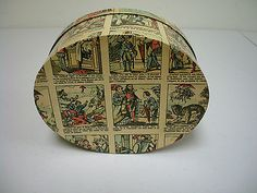 Hand-Papered-Decoupage-Oval-Box-with-Imagerie-DEpinal-Antique-Paper