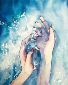 aquarell / hands in water
