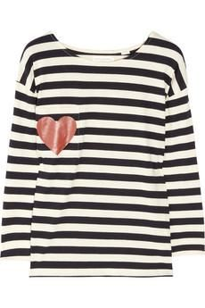 Chinti and Parker Heart-print striped organic cotton top NET-A-PORTER.COM