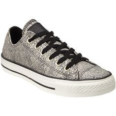 Converse Chuck Taylor All Star Ox Oil Slick Trainers , Black/Silver... (295 PEN) ❤ liked on Polyvore featuring shoes, sneakers, black shoes, flat sneakers, converse shoes, canvas sneakers and silver sneakers