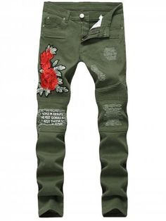 Skinny Flower Embroidery Distressed Jeans