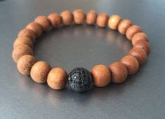 Black Diamond Pave Sandalwood Bracelet Stack by YellowMangoBracelets