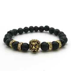 Gold Lion Head Men Bracelet  Metals Type:  Copper Alloy,Zinc Alloy    Clasp Type:  Box-with-tongue    Bracelets Type:  Charm Bracelets    Material:  Stone    Style:  Casual/Sporty    Shape\pattern:  Animal    Chain Type:  Beaded Bracelet  http://www.leonardwatches.it/products/gold-lion-head-men-bracelet