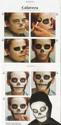Skeleton Face Best Picture For kids halloween clothes For Your Taste You are looking for something, Skeleton Face Makeup, Skeleton Makeup Tutorial, Kids Skeleton Face Paint, Halloween Makeup For Kids, Scary Halloween, Fall Halloween, Halloween Costumes, Rosto Halloween, Skeleton Costume Kids