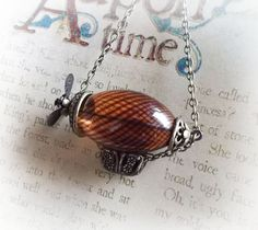 Zeppelin necklace hot air balloon necklace flying by UraniaArt