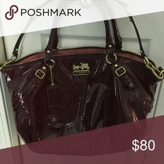 Authentic Coach Burgundy patent leather tote EUC Authentic Coach Bag used very little some dark tiny marks inside at zipper line Coach Bags Totes