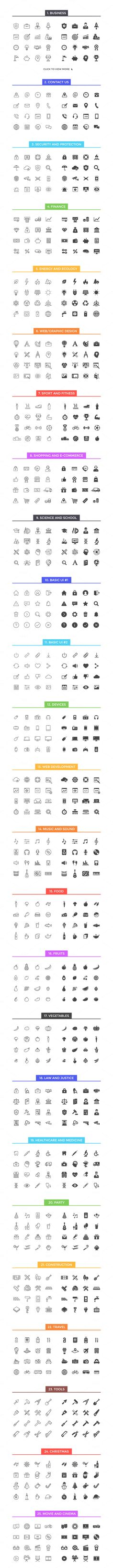 800 Line & Solid Icons by filborg on @creativemarket