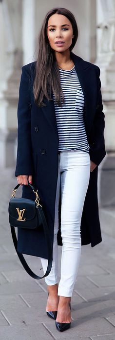 Black And White Stripe Chic Outfit by Johanna Olsson