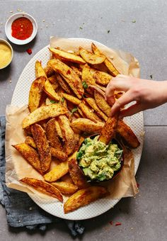 CRISPY Baked Oil-Free Potato Fries with Cheesy-Chili seasoning! 5 ingredients, crispy, tender, TASTY! #vegan #glutenfree #plantbased #minimalistbaker