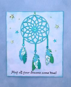 Dreamcatcher card, feathers, Marianne design die, dreamcatcher, drømmefanger