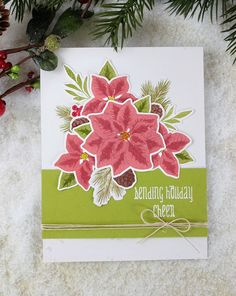 Dawn Woleslagle for Wplus9 featuring Pretty Poinsettias stamps and dies.