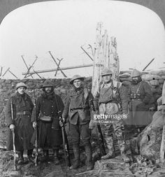 Lewis machine gunners, Hollebeke, Belgium, World War I, c1914-c1918. Belgian soldiers pose with British Tommies at the junction of the Belgian and British lines. Stereoscopic card detail.