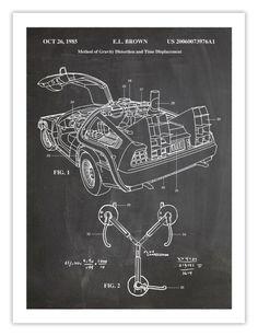 DELOREAN TIME MACHINE affiche 18 x 24 à la main Giclée   Etsy
