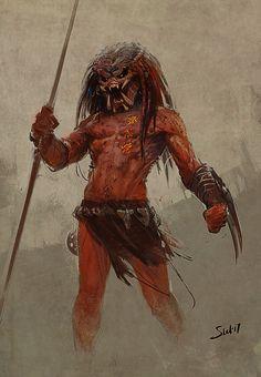 Predator Red by Vitalii Smyk on ArtStation. Predator Alien, Aliens, Alien Concept Art, Alien Races, Alien Art, Creature Concept, Creature Design, Fantasy Creatures, Alien Vs Predator
