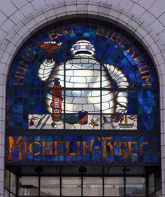 Bibendum Michelin Man Window