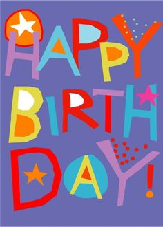Happy Birthday Dale! Happy Birthday card hand cut lettering bright by LizzyClara, $3.50