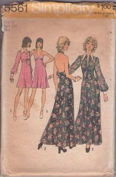 MOMSPatterns Vintage Sewing Patterns - Simplicity 5561 Vintage 70's Sewing Pattern FOXY MAMMA! Low Cut, Bare Back Halter Top Empire Waist Disco Party Dress, Summer Maxi Gown, Sheer Tied Midriff Shirt Jacket Cover Up Size 12