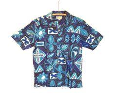 60's vintage / blue hawaii / tiki party print / hawaiian shirt / aloha shirt / Waikiki Wear / duke of hollywood