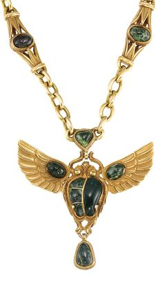 Egyptian Revival Style Gold and Green Hardstone Pendant-Necklace   14 kt., ap. 40 dwt. Length 15 3/4 inches.