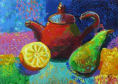 STILL LIFE painting TEAPOT Original painting acrylic Kitchen