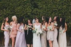 Bridesmaids in mismatched neutrals