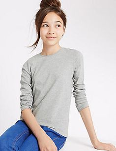Pure Cotton Long Sleeve T-Shirt with StayNEW™ (3-14 Years)