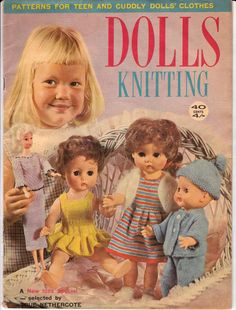 Vintage 60s Dolls Clothes Knitting Patterns Book. via Etsy.
