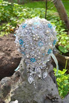 Tiffany blue cascading brooch wedding bouquet -- deposit on made to order  brooch wedding bouquet