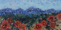Palette Knife Poppy Landscape Painting Mountain Poppies by Colorado Impressionist Judith Babcock -- Judith Babcock