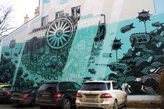 """#kraków #poland #polska #streetart #mural  #visitpoland #polandtravel #art Kraków jako miasto-parowiec, dryfujący po wodach gigantycznego akwarium. Mural """"M-City 658"""", zaliczany do ścisłej czołówki światowych dokonań street artu, powstał w ramach przygotowań do Grolsch ArtBoom Festival 2013."""