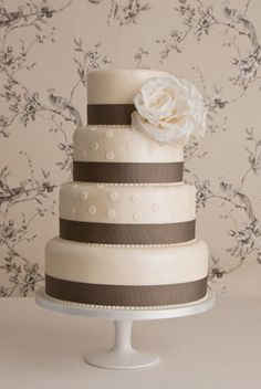 white and gray cake...use a red rose instead of white!