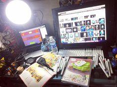 Figured I'd do one of those #workspace  photos considering I'm in the middle of a few different projects XD hopefully it'll be cleaner when I get my monitor arm for the cintiq!   #artspace #artdesk #copics #workinprogress #wip #traditionalart #digitalart #comicart #illustration #instaart #artistsoninstagram #marlaauslander #starryknightstudio #undertale #undertalesans #fanart #sans #sanstheskeleton #comicartist