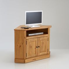 imagen de mueble para tv esquinero de pino macizo authentic style la redoute