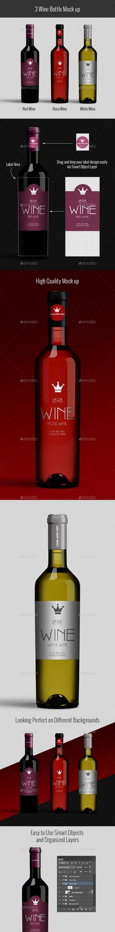 Wine Bottle Mockup by masterpixdesign Features 3 High Resolution PSD files Red Wine, Rose Wine and White wine bottlesFully organizedlayers and folders5000×3000300dpi Ea