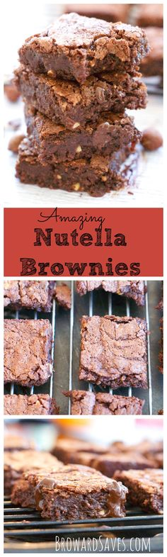 Delicious and decadent Nutella Brownies - These brownies are fudgy with a crunchy top, the best brownie you will every try!