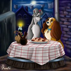 Tis work is dedicated to my friend ~ [link] in gratitude for all your support for my work, thanks friend. The Lady and the Tramp © Disney GIFT FOR A FRIEND 5 Art Disney, Disney Dogs, Disney Gift, Disney Couples, Disney Magic, Disney Movies, Disney Pixar, Disney Fun, Disney Stuff